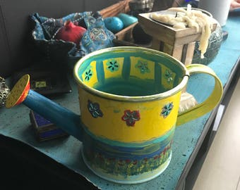 Hand painted recycled planter/watering can