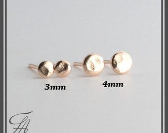 Hammered Studs, Minimalist Earrings, Flat Disc Earrings, Dot Earrings, Post Earrings, Stud Earrings, Gold Earrings, Handmade Earrings
