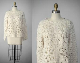 crocheted sweater | cream open knit sweater | chunky sweater | chunky white sweater