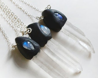 SALE Small Moonstone and Quartz wands teardrop 925 clay fimo necklace pendant crystal jewellery gemstone