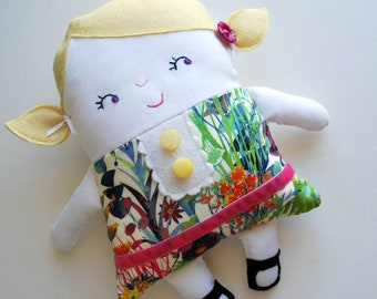 Blonde Two-Faced Friend Flip Doll - Made with Liberty Of London Fabrics - Stuffed Toy - Dolly - TopsyTurvy - Rag Doll - Emotions Asleep