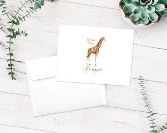 Giraffe Note Cards, Giraffe Stationery Set, Thank You Cards, Personalized Notecards, Giraffe Lover Cards, Custom Stationary Set