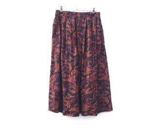 ON SALE  Vintage Skirt | 90s | Midi | Paisley