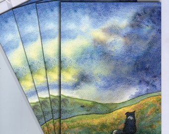 4 x border collie dog greeting cards sheepdog gazing at view scenic landscape Scottish hills after the storm from a Susan Alison painting