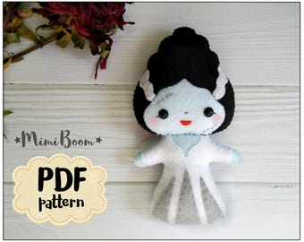 The Bride of Frankenstein pattern Halloween Bride pattern felt doll Halloween digital pattern Dolls DIY felt ornaments Halloween tutorial
