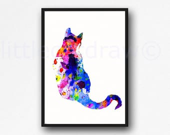 Colorful Cat Watercolor Painting Print Cat Print Cat Wall Art Print Cat Lover Gift Home Decor Cat Wall Decor Unframed