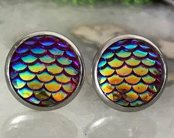 Red Mermaid Earrings |  12mm Mermaid Studs | Stainless Steel  | Dragon Scale | Fish Scale Studs | Mermaid Scale Earrings | Dragon Earring