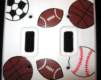 SPORTS BALLS - DOUBLE Wooden or Metal - Light Switch Plate Cover - Hand Painted
