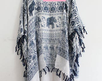 Kimono with Elephant Print and Tassel