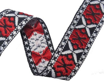 Folk Aztec Embroidered Red Ribbon Trim for Fashion Crafts