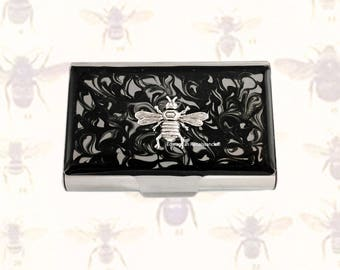 Queen Bee Large Business Card Case Embellished on Black Ink Swirl Enamel Design Personalized and Color Options