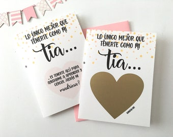 SPANISH Godmother Proposal Scratch Off Card -  Lo único mejor que tenerte como mi tia Card - Baptism Christening - SPANISH BLESSED