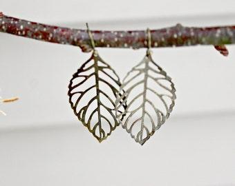 Brass Dangle Leaf Pierced Earrings on Brass Fish Hook Wires