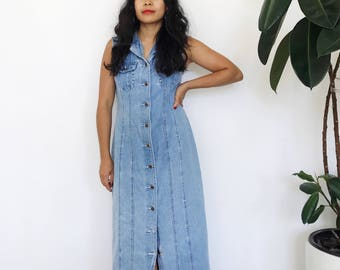 Vintage 90s Denim Jean Button Down Sleeveless Dress