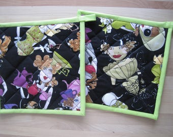 Hot pad, oven mitt, kitchen accessory, quilted, insulated, Loralie Designs® 'Ladies Tea' design, 'Tea Toss Black' with apple green trim