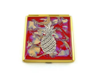 Pineapple Compact Mirror Inlaid in Hand Painted Enamel Red Quartz Inspired with Color and Personalized Option