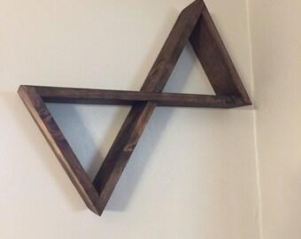 Dark Wood Double Triangle Floating Shelf   Minimalist Boho Decor   Geometric Shelf   Simple Wood Shelf   Modern Home Decor   Crystal Display