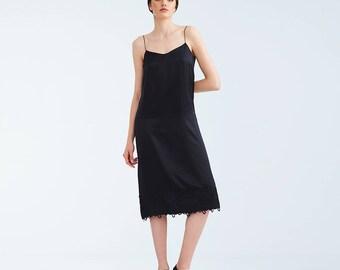Black Silk Shoulder Straps Knee Length Dress, Lightweight Summer Sensual Dress, Evening Party Feminine Dress, Embroidery Lace Overalls