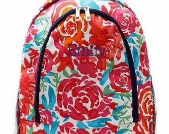 Monogrammed Backpack Personalized Floral Watercolor Backpack Personalized Backpack Kids Backpack Girls Backpack Boys Backpack