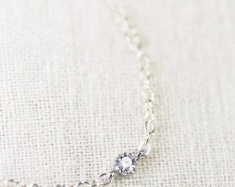 Hoku bracelet - silver solitaire bracelet, sterling silver chain bracelet, delicate silver bracelet, dainty silver bracelet, maui, hawaii