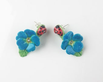 Porcelain Ladybird with Blue Primrose drop earring/ earrings/ flower jewellery/ flower earrings/ porcelain earrings/ Ladybird/ Blue Primrose