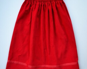 Toddler girl Holiday skirt, girl's long skirt, red holiday skirt, red corduroy skirt,  Christmas party, holiday party, photo shoot, 2T - 4.