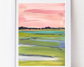 Impressionist Art Marsh Print on Paper or Canvas