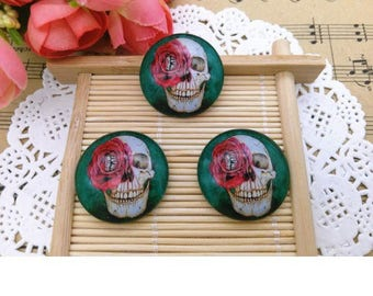 1 skull and pink (x 1) glass dome cabochon