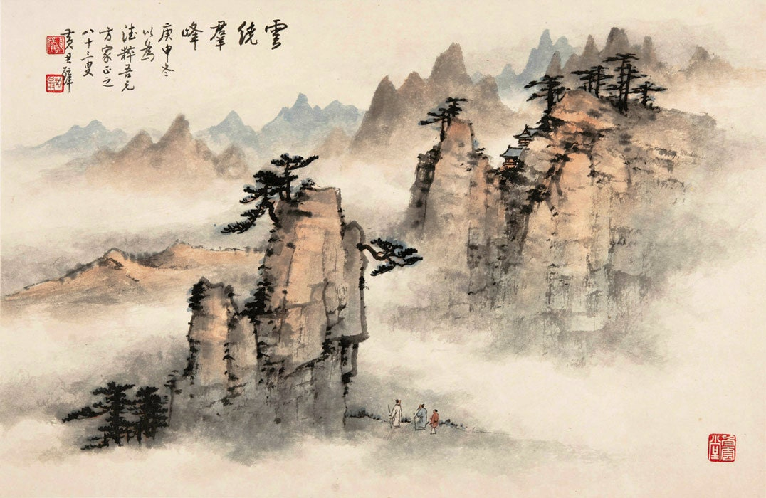 Chinese art vintage nature landscape chinese paintings for Chinese mural art