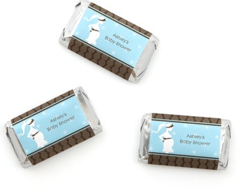 Mommy-To-Be Silhouette – It's A Boy Mini Candy Bar Wrappers - Personalized Baby Shower Hershey® Miniature Candy Bar Sticker Labels - 20 Ct