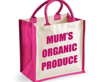 Organic Bag Shopping Bag Mum's Organic Produce Medium Jute Bag Reusable Black Shopper