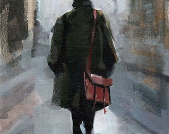 Art Print Figure Woman Fashion Green Coat Urban City 9x12 on 11x14 - Clothed Figure Study 1 by David Lloyd