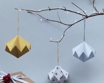 Geometric Metallic Diamond Christmas Ornament