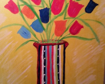 Lively Multi Colored Tulips Original Acrylic Painting One of a Kind!