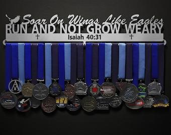 Isaiah 40:31 - Soar On Wings Like Eagles - Bible Verse - Allied Medal Hanger Holder Display Rack