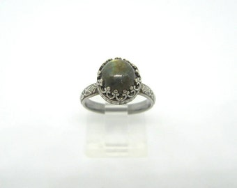 Labradorite Ring, Handmade Sterling Silver and Labradorite Ring, Flashy Labradorite Ring,