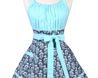 Flirty Chic Pinup Apron - Cornflower Blue and Gray Floral Apron - Womens Sexy Cute Retro Kitchen Apron with Pocket