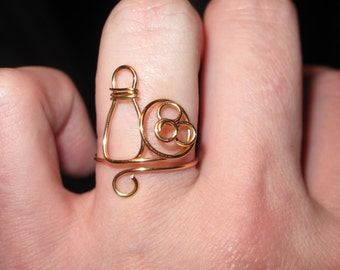 Wire Wrapped Tiny Bowling Ring MADE to ORDER Adjustable