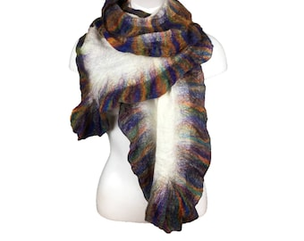 Wool and silk scarf, nuno felted, ruffle scarf, merino wool, fashion scarf, womens accessory, white with multicoloured ruffle border