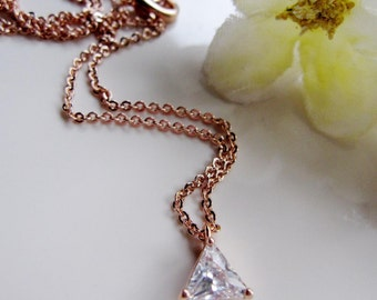 Rose Gold Triangle Necklace, Cubic Zirconia, Geometric, Modern Pendant Jewelry Redpeonycreations