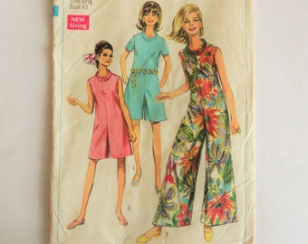 1960s Jumpsuit pattern, 3 lengths, pantdress, sleeveless, roll collar, retro vintage sewing pattern, Simplicity 7695,  size 20 1/2 bust 43