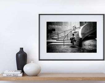 TATE MODERN Stairs - Black and White Art Print Photography