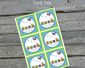 Planes Trains Automobiles Transportation-themed Favor Tags | Digital Download | Instant Download | 3x3 inch tags | bag toppers | gift tags