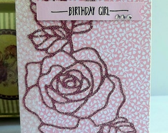 Birthday card in pink and glitter, with a die cut rose
