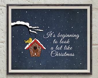 Perfect Christmas Quote Wall Art   Snowfall Print   Birdhouse Printable   Gold Bird  Art   Christmas