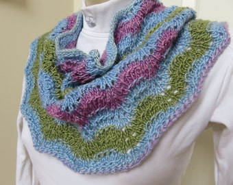 Hand Knitted Ripple Knit Cowl