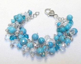 Blue magnesite cha cha bracelet