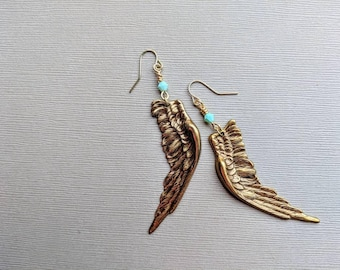 Brass Wings Earrings with Robin's Egg Blue Bicone Bead Accent