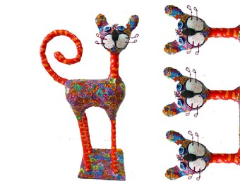 Cat sculpture /home decor / home design/polymer clay/ handmade/ whimsical /Collectibles /made in Israel