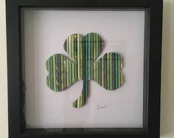 Shamrock Wall Art, 3D wall art, good luck gift, kids decor, office decor, green shamrock, Nursery decor Shadowbox, Kids Room Art, Wall Decor